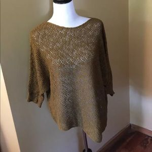 Eileen Fisher Organic Cotton Asym Sweater GREEN